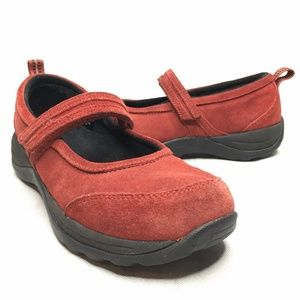 L.L. Bean Comfort Mocs Red Suede Mary Jane Comfort
